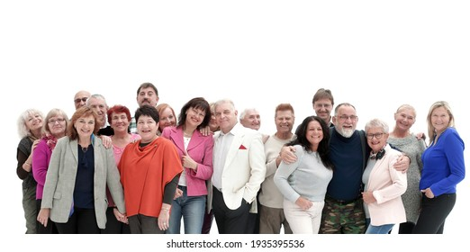Group of happy people isolated over a white background