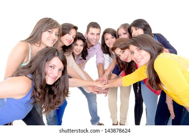 Group of happy people, joining hands. Isolated on white background.