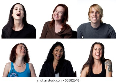 Group of happy people laughing out loud