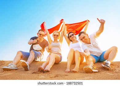 Group of happy people on summer holidays