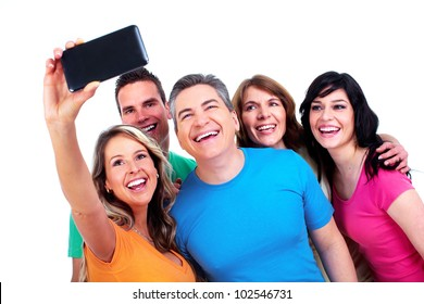 Group of happy people with a smartphone. Isolated over white background
