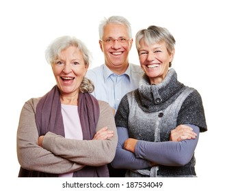 Group of happy senior people smiling with their arms crossed
