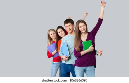 Group happy student