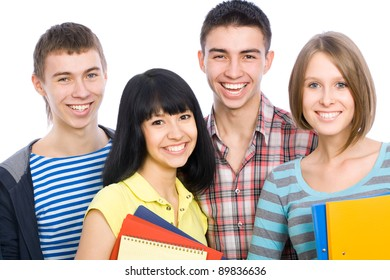 Group of happy students look at the camera