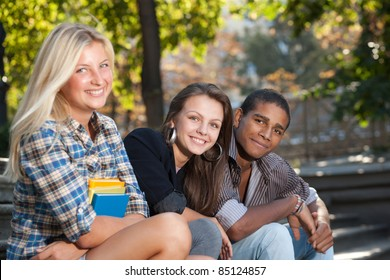 Group of happy students outdoor