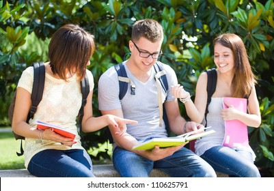 Group of happy students in a park