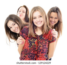 group of happy teen girls, over white background