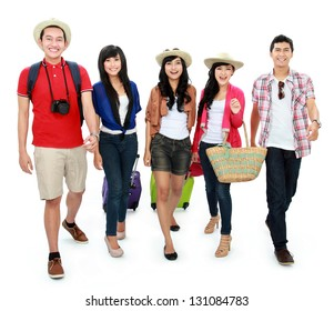 group of Happy teenager tourist walking together and happy