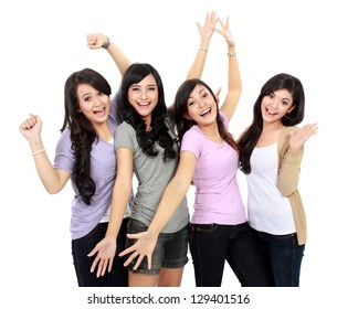 Group of happy teenagers celebrating success