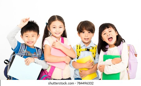 Group of happy children standing together