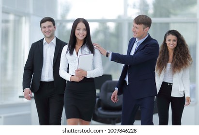 group of happy young business people