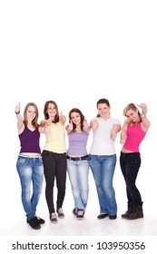 Group of happy young girl giving the thumbs-up sign