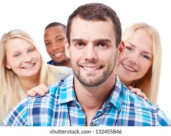 Group of happy young people. All on white background.