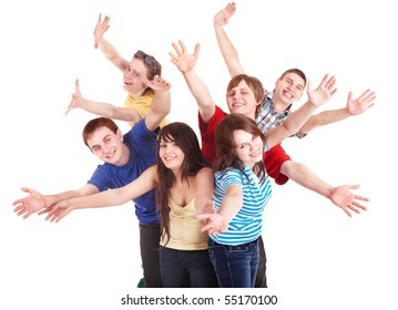 Group of happy young people. Isolated.