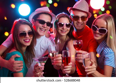 Group of happy young people at party