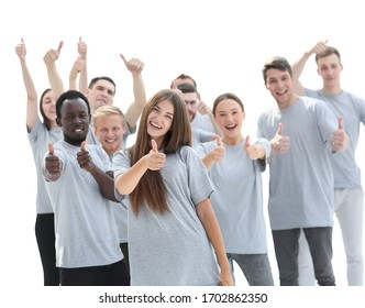 group of happy young people showing thumbs up.