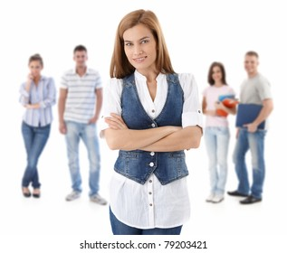 Group of happy young people, smiling woman at front, isolated on white background.?