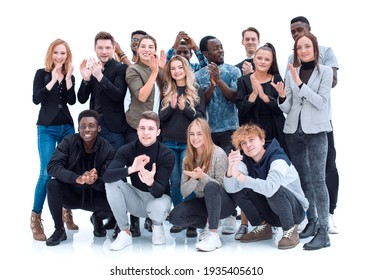 group of happy young people standing together.