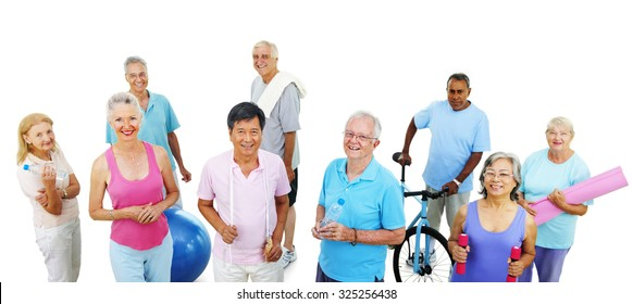 Group Healthy People Fitness Exercise Gym Concept