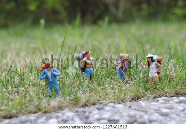 the group hiker backpack traveler walking advenuture
