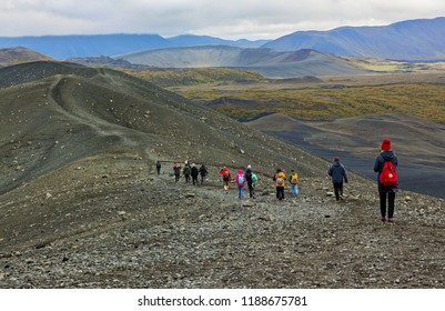 Group of hikers in the mountains , Iceland