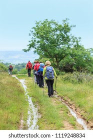 group of hikers on a muddy path