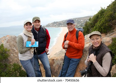 Group of hikers standing in natural trail