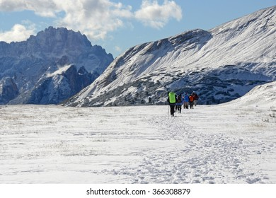 Group of hikers traveling in Dolomite, Italy.