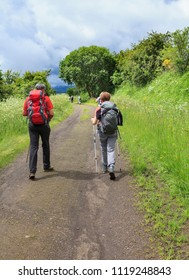 group of hikers walking on a path