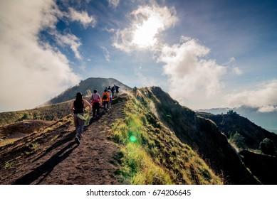 group of hiking on batur volcano, Bali, Indonesia