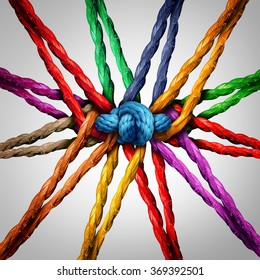 Group holding together as different ropes connected and tied and linked together in the center by a knot as a strong  unbreakable chain and community trust and faith metaphor.
