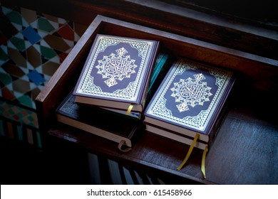 Group of Holy Books of Quran Under Soft Light