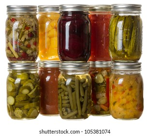 Group of homemade preserves canned goods in mason jars