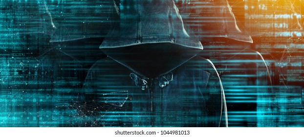 Group of hooded computer hackers with obscured faces lined up in formation as army soldiers. Programmers, internet experts and cybersecurity technicians joined for common goal.