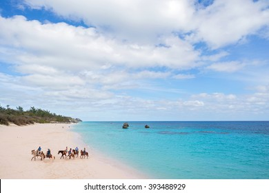 a group of horseback riders on the beach in Bermuda