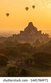 Group of the hot air balloons flying over Dhammayangyi temple in Bagan plain at dawn. Bagan now is the UNESCO world heritage site and the first kingdom of Myanmar.