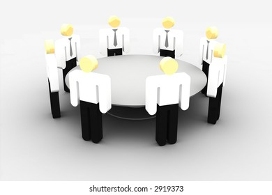 group of iconographic business persons in talk around a table