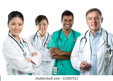 Group image of a mixed race Medical team. Isolated on white.