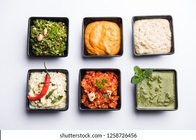 Group of Indian Chutneys includes coconut, Peanut, green and red chilly, garlic and pudina served in small square shape bowls. selective focus