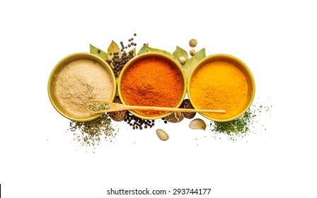 Group of indian spices and herbs difference ware on white background with top view, copy space and clipping path for design foods, vegetable, healthy lifestyle or other your content.
