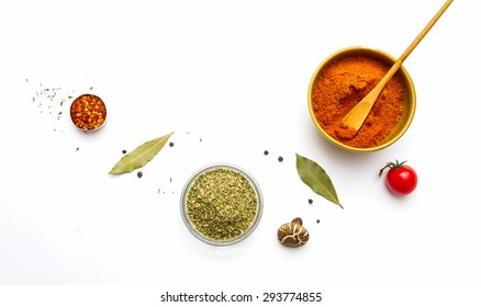 Group of indian spices and herbs difference ware on white background with top view and copy space for design foods, vegetable, spices, herbs, healthy lifestyle or other your content.