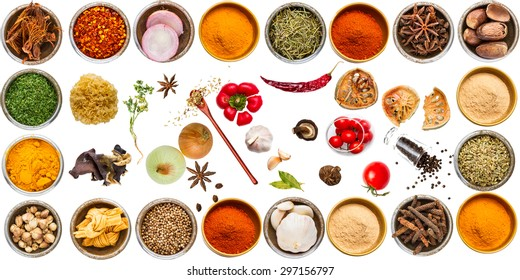 Group of indian spices and herbs difference ware on white background with top view and clipping path for design foods, vegetable, spices, herbs, healthy lifestyle or other your content.
