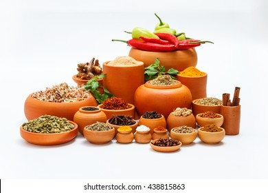 Group of indian spices and herbs difference ware on white background with normal view and copy space, mock up for design foods, vegetable, healthy lifestyle or other your content.
