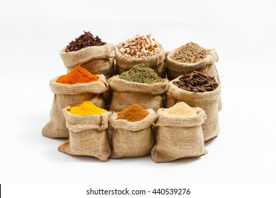 Group of indian spices and herbs difference ware on white background with normal view and copy space for design foods, vegetable, spices, herbs, healthy lifestyle or other your content.