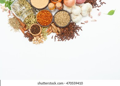 Group of indian spices and herbs difference ware on white background with top view and copy space for design foods, vegetable, healthy lifestyle or other your content.