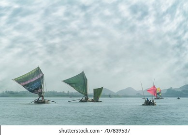 Group of Indigenous Sailing Boats on Lemro River Valley at Mrauk U District, Rakhine State, Myanmar.