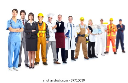 Group of industrial workers. Isolated on white background. Job. Occupation.