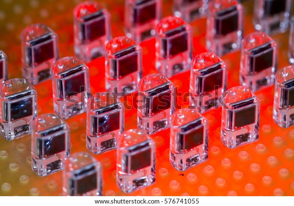 Group of infrared LED PCB receivers in line