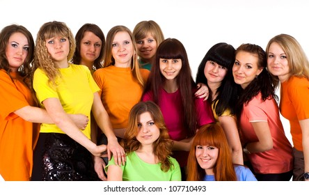 Group of interesting young people on a white background