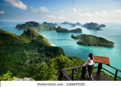 Group of islands in Ang Thong National Marine Park, Thailand. Top view